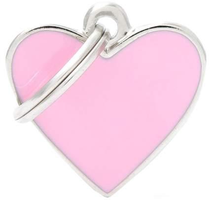 Медальон на ошейник для кошек и собак My Family Basic Handmade в форме сердца розовый