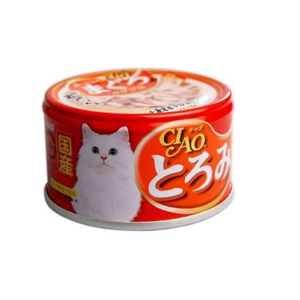 Консервы для кошек CIAO, мраморная вырезка тунца с гребешком, 80г