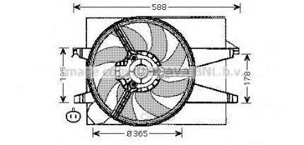 Вентилятор радиатора Ford Fiesta, Fusion, Mazda 2 01 Ava FD7541