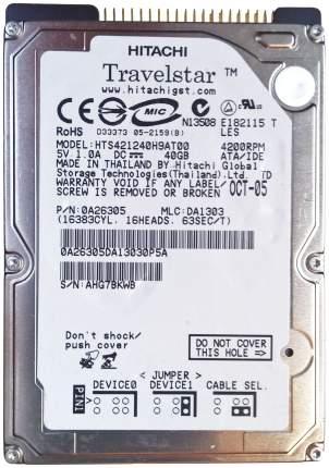 Внутренний жесткий диск HGST Travelstar 4K120 40GB (HTS421240H9AT00)