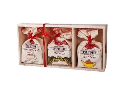 Чай Ти Тэнг черный набор холщовые мешочки в деревянном лотке 3 шт*50 г