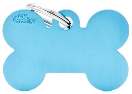 Адресник на ошейник для собак My Family Colors Косточка, большая, голубая, 4 см