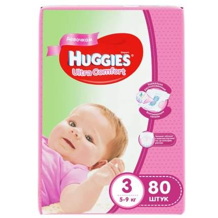 Подгузники Huggies Ultra Comfort для девочек 3 (5-9 кг), 80 шт.