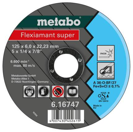 Отрезной диск по нержавеющей стали для угловых шлифмашин metabo 616271000