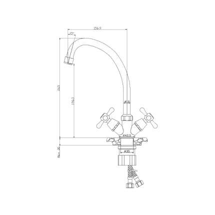 Смеситель для кухонной мойки Rossinka Silvermix Y02-71U хром