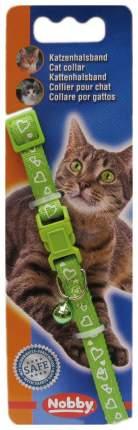 Ошейник для кошек Nobby СЕРДЕЧКИ полиэстер, зеленый, 20-30 см