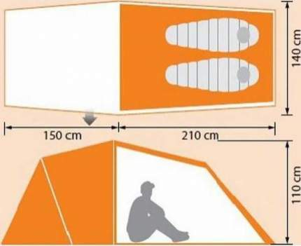 Палатка Norfin Otra Alu NS двухместная серая/оранжевая