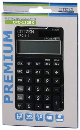 Калькулятор Citizen CPC-112BKWB, 12 разрядов, двойное питание, 120х72 мм, Черный