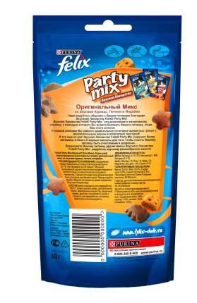Лакомство для кошек Felix Party Mix Оригинальный микс курица, печень и индейка, 60г x 8шт