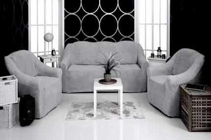 Комплект чехлов на диван и кресла плюшевый Venera, цвет серый, 3 предмета