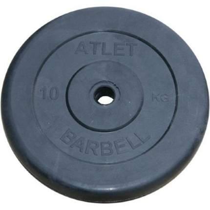 Atlet Диски обрезиненные, чёрного цвета, 26 мм, 10 кг, Atlet MB-AtletB26-10