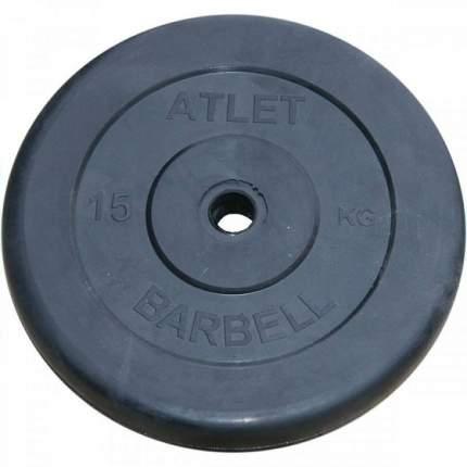 Atlet Диски обрезиненные, чёрного цвета, 26 мм, 15 кг, Atlet MB-AtletB26-15