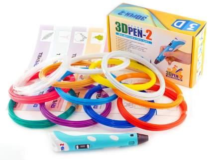 3D ручка 3DPEN-2 PLA 10 цветов с трафаретами, цв. голубой