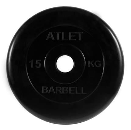 Barbell Диски обрезиненные, чёрного цвета, 51 мм, 15 кг, Atlet MB-AtletB51-15