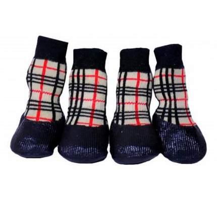 Носки для собак БАРБОСки размер XXS, 4 шт красный, бежевый, черный