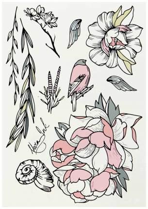 Переводные тату Miami Tattoos Garden by Nora Ink