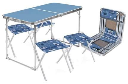 Набор: стол складной + 4 стула дачных складных НИКА, ССТ-К2 голубой