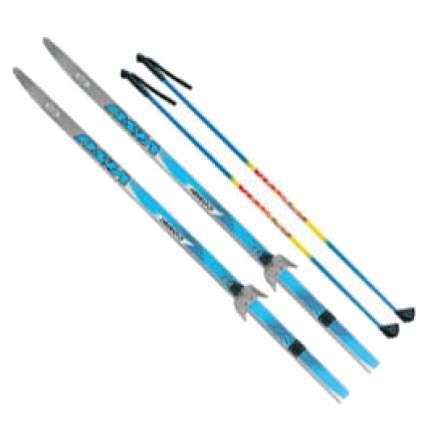 Комплект беговых лыж Visu: лыжи, палки, крепления, 75 мм, 195 см step