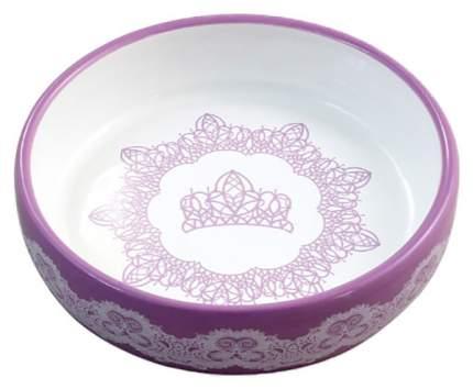 Одинарная миска для кошек и собак Triol, керамика, фиолетовый, белый, 0.2 л