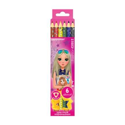 Набор цветных карандашей ГОРОДСКИЕ МОДНИЦЫ 6 цв. трехгранный с заточкой с фольгой