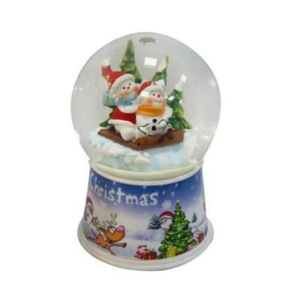 Шар декор снеговики на санках 100 мм мелодия движ Новогодняя сказка 972481