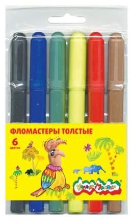 Фломастеры Каляка-Маляка 6 цв. толстые, вент.колп., блист. упак., кругл. корп., 3+