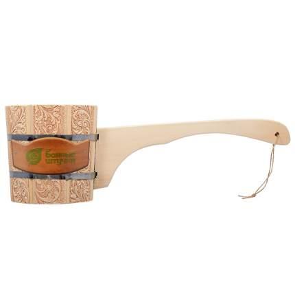 Ковш-черпак бондарный Банные штучки с орнаментом Цветы с длинной ручкой 1,5 л