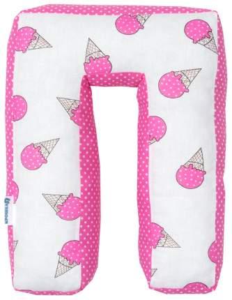 Подушка Крошка Я буква П 35х26 см, розовый