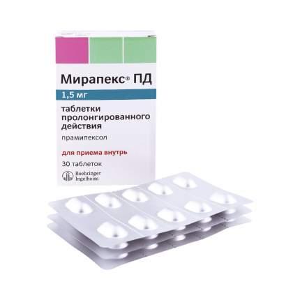 Мирапекс ПД таблетки 1,5 мг 30 шт.