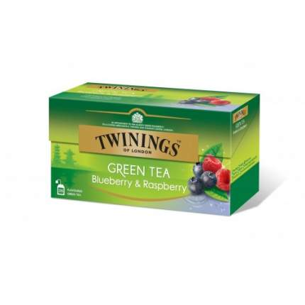 Чай зеленый Twinings черника и малина 25 пакетиков