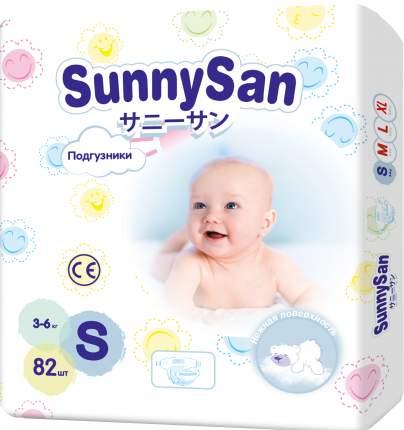 Подгузники для новорожденных SunnySan S 3-6 кг 82 шт.