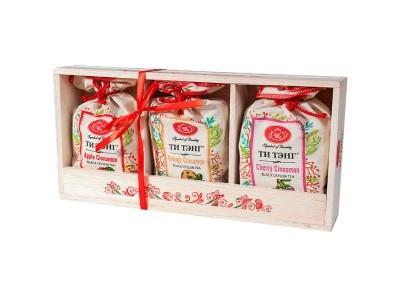 Чай черный Ти Тэнг и набор холщовых мешочков в деревянном лотке 3 шт*50 г