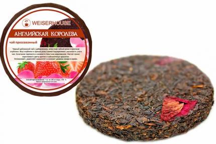Чай черный с лепестками чайной розы и клубникой английская королева плитка 50 г