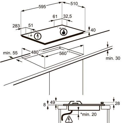 Встраиваемая варочная панель газовая Electrolux GPE363RCB Black/Silver