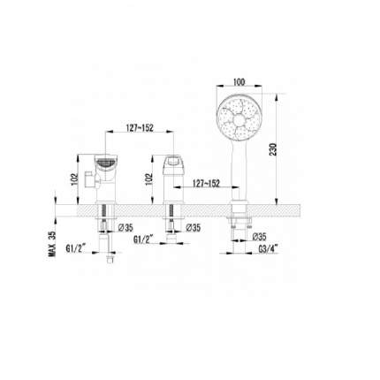 Смеситель для ванны на борт LEMARK Atlantiss LM3245C хром