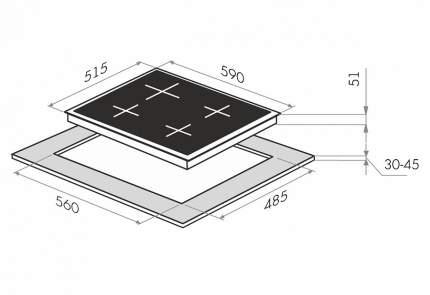 Встраиваемая варочная панель электрическая MAUNFELD EEHE.64,4B Black