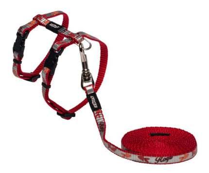 Комплект поводок и шлейка для кошек Rogz ReflectoCat XS-8мм 1,8 м (Красный CLJ240C)