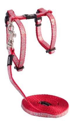 Комплект поводок и шлейка для кошек Rogz SparkleCat S-11мм 1,8 м (Красный CLJ52C)