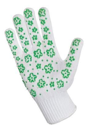 Перчатки для уборки Хозяюшка Мила трикотажные с дизайн напылением ПВХ, green