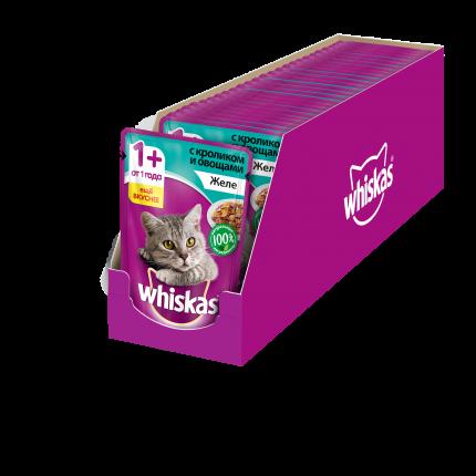 Влажный корм для кошек Whiskas желе с кроликом и овощами, 24 шт по  85г
