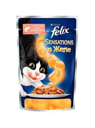 Влажный корм для кошек Felix Sensation, лосось, треска, 85г