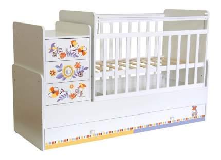 Кровать-трансформер Фея 1100 Прогулка белый
