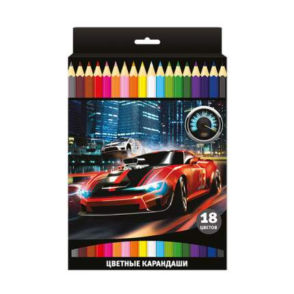 Набор цветных карандашей МИР СКОРОСТИ 18 цв. шестигранные