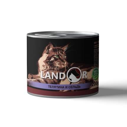 Консервы для кошек Landor Senior Cats, для пожилых, телятина с сельдью, 200г