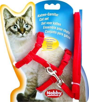 Шлейка с поводком для кошек Nobby обхват 19-22 см, красный