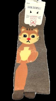 Носки женские высокие, размер 37-41, с хвостиком, коричневые