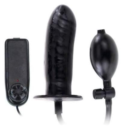 Чёрный расширяющийся анальный вибратор 15,5 см