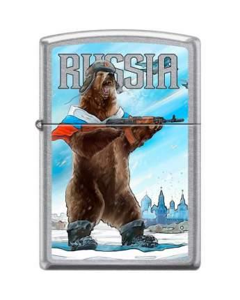 Бензиновая зажигалка Zippo 207 Russian Bear Street Chrome