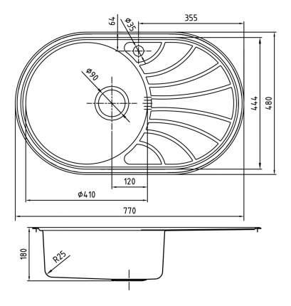 Мойка для кухни из нержавеющей стали IDDIS Suno SUN77PLi77 сталь