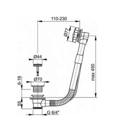 Слив-перелив для ванны Fiore 30047002CR
